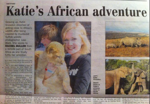 Local Archant Newspaper - The Eastern Daily Press were supportive of my trip to Born Free Foundation's sanctuary at Shamwari