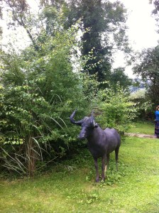 Sculptures and garden at Pollyanna's