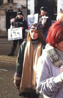 Maisie Williams at a dolphin march