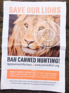 Save our lions poster - Global March for Lions