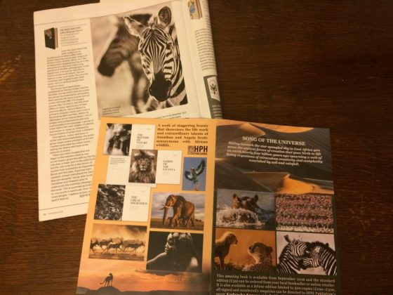 A leaflet teasing the design concept of 'Sacred Nature' and the book's review by Keith Wilson in Geographical Magazine