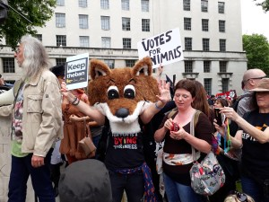 demonstrators at keep the ban anti fox hunting protest 2017