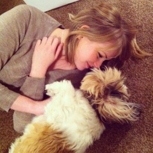 Kate on Conservation with dog, Chaz