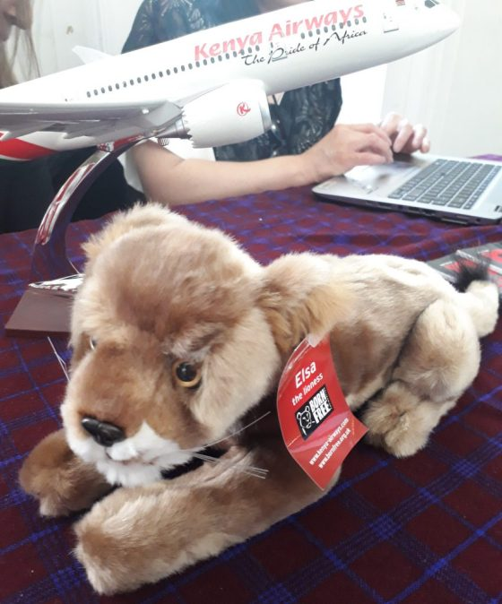Born Free Foundation elsa toy on kenya airways stall