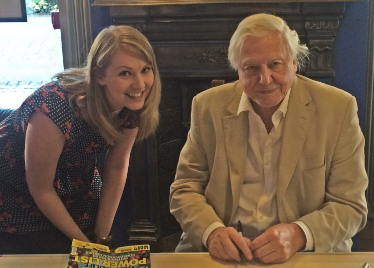 Kate on Conservation, wildlife blogger, with Sir David Attenborough