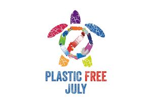 Plastic free July logo - turtle made of plastic bottles