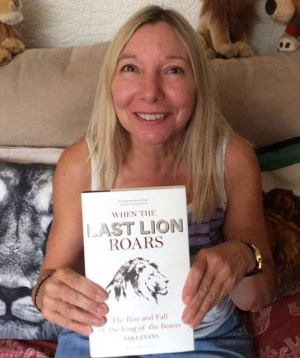 Sue Stuart winner of a signed copy of When the Last Lion Roars book