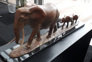 matriarch elephant and youngsters sculpture by Camilla Le May
