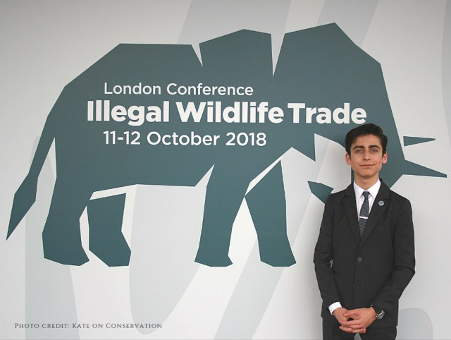 Aidan Gallagher at the illegal wildlife trade conference 2018