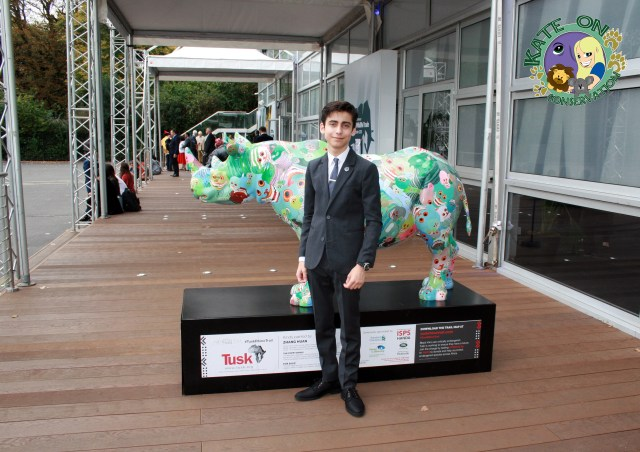 Aidan Gallagher-outside-the-illegal-wildlife-trade-conference-2018