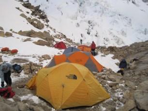 Tocclaraju High camp tents
