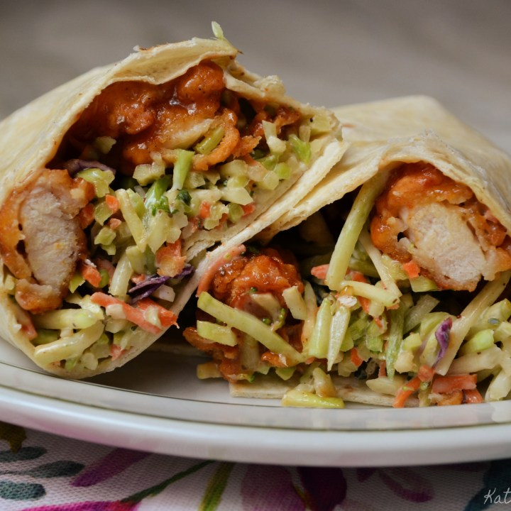 Honey Barbecue Chicken Wraps with Broccoli Slaw