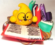 Library Reading Parker - Polymer Clay Sculpture by KatersAcres