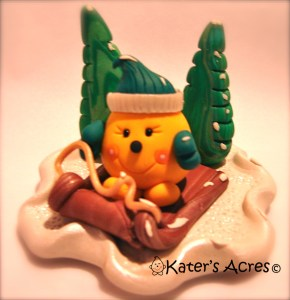 Limited Edition Sled Riding Parker Polymer Clay StoryBook Scene by KatersAcres