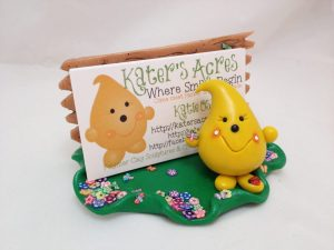 Kater's Acres Polymer Clay Business Card Holder with Cards