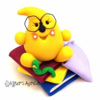Bookworm Parker - Polymer Clay Handmade Figurine by KatersAcres