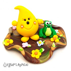 Frog Swamp Parker Polymer Clay Figurine - StoryBook Scene by KatersAcres