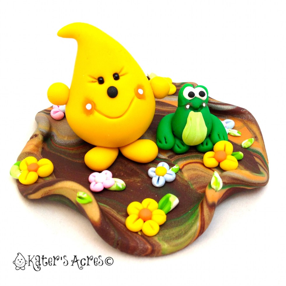 Frog Swamp Parker Polymer Clay Figurine - StoryBook Scene by KatersAcres