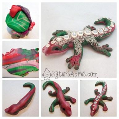 Polymer Clay Lizard Tutorial by KatersAcres | For complete instructions, please click to visit the blog