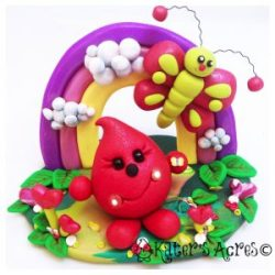 Valentine's Day Parker with Rainbow & Heart Flowers - Polymer Clay StoryBook Scene by KatersAcres