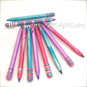 Polymer Clay Covered Pens from Scrap Clay by KatersAcres