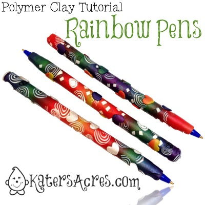 Polymer Clay Rainbow Pen Tutorial by KatersAcres