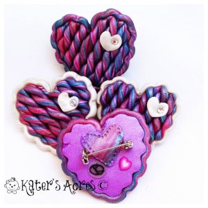Scrappy Heart Pins by KatersAcres