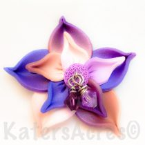 Variegate Polymer Clay Flower Pin by KatersAcres