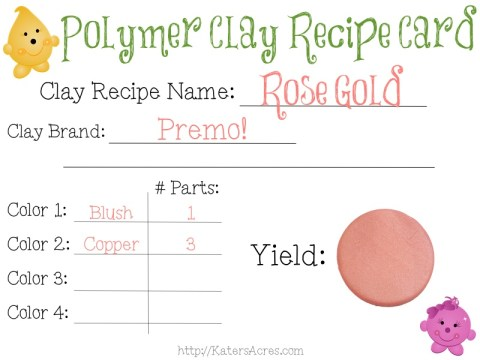 Polymer Clay Recipe Card - Rose Gold by KatersAcres | FREE Blank Clay Recipe Card download at this link