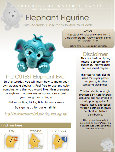 Polymer Clay Elephant Tutorial Intro Sheet by KatersAcres