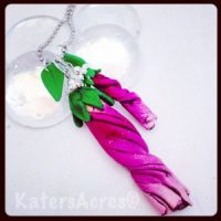 Polymer Clay Hibiscus Bud Pendant Necklace by KatersAcres