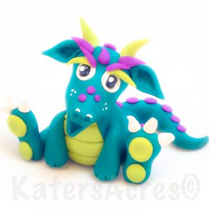 Emie, Polymer Clay Dragon, Handmade by KatersAcres
