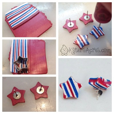 Patriotic Star Earrings, A Polymer Clay Tutorial by KatersAcres