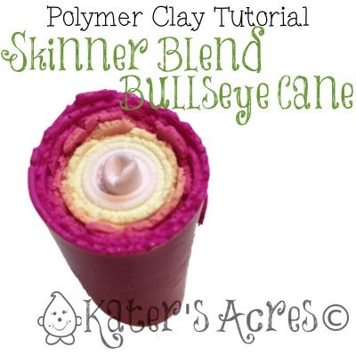 Polymer Clay Skinner Blend Bullseye Cane Tutorial by KatersAcres