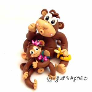 Polymer Clay Monkeys by KatersAcres