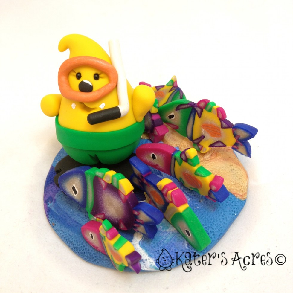 Scuba Parker StoryBook Scene | Handmade Polymer Clay Collectible by KatersAcres