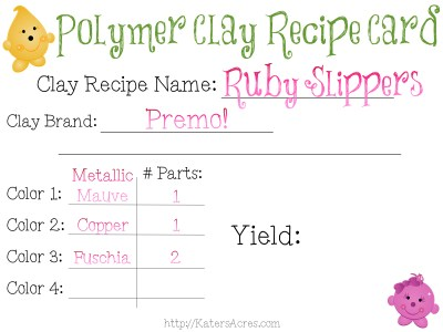 FREE Polymer Clay Color Recipe Card for Ruby Slippers by KatersAcres | Find Out How to Make This Unique Color