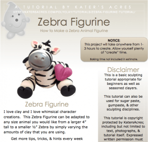 Polymer Clay Zebra Tutorial Preview by KatersAcres