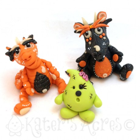 Polymer Clay Halloween Dragons by KatersAcres