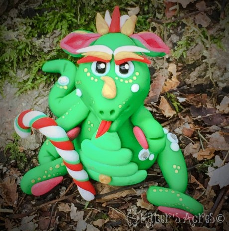 Polymer Clay Christmas Dragon, Evergreen, by KatersAcres