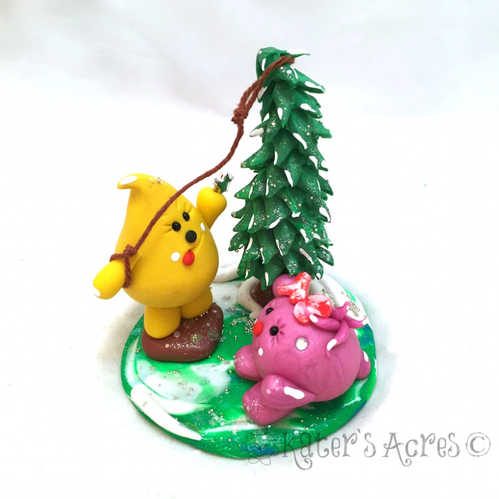 Christmas Tree Star Parker & Lolly StoryBook Scene | Handmade Polymer Clay Figurine by KatersAcres