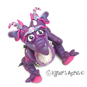 Canoodle, Handmade Polymer Clay Valentine's Day Wish Dragon from KatersAcres