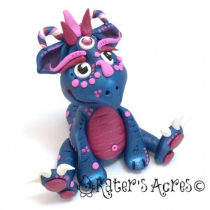 Indigo, Polymer Clay Dragon by KatersAcres