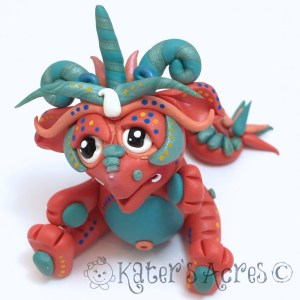 FireFrost, Polymer Clay Collectible Dragon | Handmade in USA by KatersAcres
