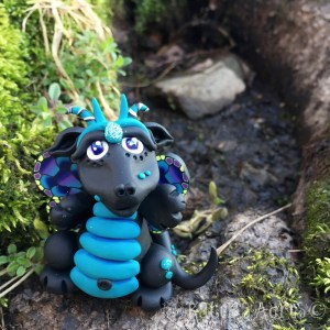Polymer Clay Dragon, Glowfly made by Katie Oskin of KatersAcres  Week 16 for #2015PCChallenge by KatersAcres   Handmade collectible dragons