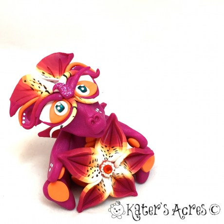 "Polymer Clay Dragon ""Lily"" Handmade in NW Pennsylvania by Katie Oskin of KatersAcres 