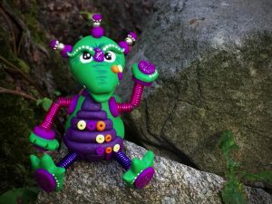 Polymer Clay Robot Dragon by Katie Oskin of KatersAcres, Ready for Adoption on Etsy