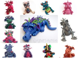This photo represents Dragons from weeks 1-12 of the 2016 Polymer Clay Challenge - All Made by KatersAcres