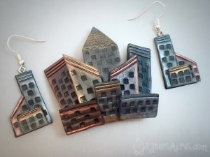 Polymer Clay City Skyline Brooch Tutorial by KatersAcres   CLICK to get this FREE Polymer Clay Tutorial