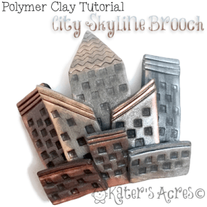 Polymer Clay City Skyline Brooch Tutorial by KatersAcres | CLICK to get this FREE Polymer Clay Tutorial